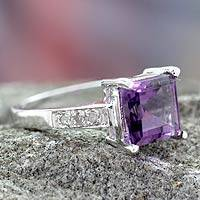 Diamond accent amethyst solitaire ring, 'Lilac Sparkle' - Handcrafted Sterling Silver Solitaire Amethyst Ring