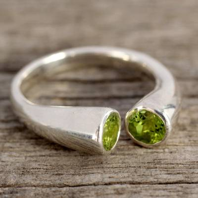 Peridot wrap ring, 'Face to Face' - Handcrafted Jewelry Silver and Peridot Wrap Ring from India