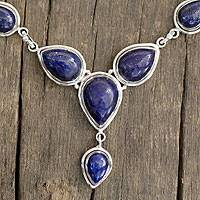 Lapis lazuli Y-necklace, Aura of Beauty - Lapis Lazuli and Sterling Silver Necklace from India