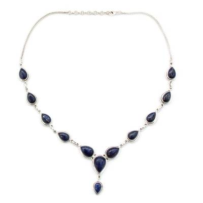 Lapis Lazuli and Sterling Silver Necklace from India