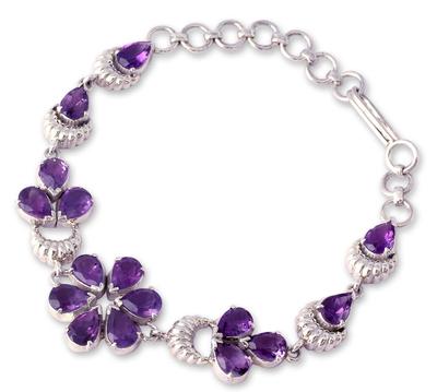 Handcrafted Floral Amethyst Bracelet
