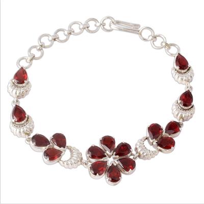 Floral Sterling Silver and Garnet Bracelet