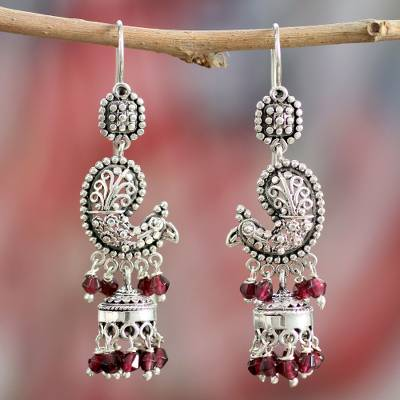 Garnet chandelier earrings, 'Paisley Peacock' - Sterling Silver and Garnet Chandelier Earrings from India