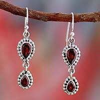 Garnet dangle earrings, 'Halo of Beauty' - Garnet Earrings in Sterling Silver from India Jewelry