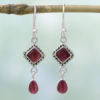 Garnet dangle earrings, 'Fire of Love' - Natural Garnet and Sterling Silver Earrings Indian Jewelry
