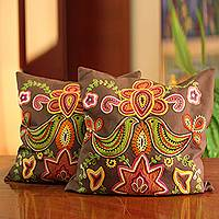 Cotton cushion covers, 'Choral' (pair) - Handmade Indian Floral Cotton Cushion Covers (Pair)