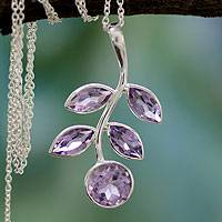 Amethyst Pendant Necklace Lilac Leaves (india)