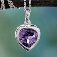 Amethyst pendant necklace, 'Lilac Heart' - Heart Jewelry Sterling Silver and Amethyst Necklace