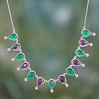 Amethyst and onyx waterfall necklace, 'Jaipuri Color' - Hand Crafted Pearl and Multigem Sterling Silver Necklace