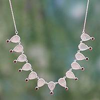 Rose quartz and garnet waterfall necklace, 'Love's Secret' - Unique Rose Quartz Waterfall Necklace