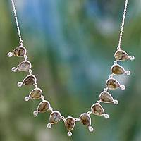 Labradorite and blue topaz waterfall necklace,