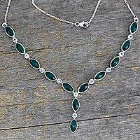 Green onyx and topaz Y necklace, 'Valley Dreamer' - Green Onyx and Blue Topaz Y Necklace