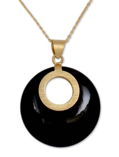 Gold Vermeil Onyx Necklace Jewelry from India