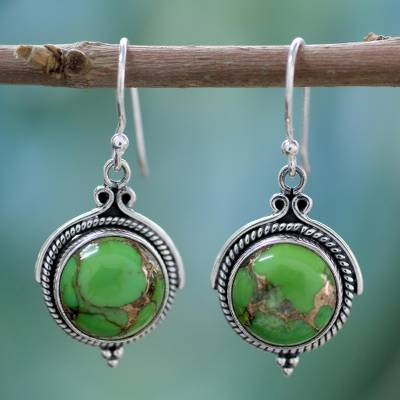 Sterling silver dangle earrings, 'Splendor' - Green Sterling Silver Earrings Fair Trade Jewelry