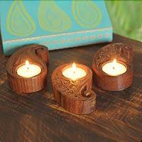Rosewood tea light holders, 'Indian Paisley' (set of 3) - Rosewood Tea Light Candle Holders (Set of 3)