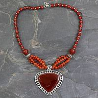 Carnelian pendant necklace, 'Autumn Blaze' - Hand Made Carnelian Jewelry Sterling Silver Necklace