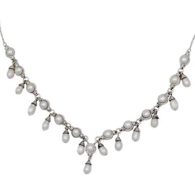 Cultured pearl waterfall necklace