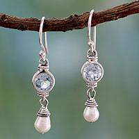 Cultured pearl and blue topaz dangle earrings, 'Smile' - Cultured pearl and blue topaz dangle earrings