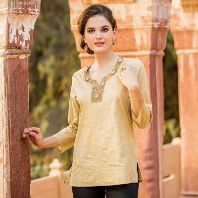 Cotton tunic, 'Golden Blossoms' - Gold Beaded Women's Cotton Tunic with Floral Print