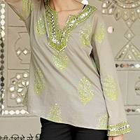 Beaded cotton tunic, 'Jaipur Fascination' - Grey Cotton Tunic with Green and Silver Embellishments