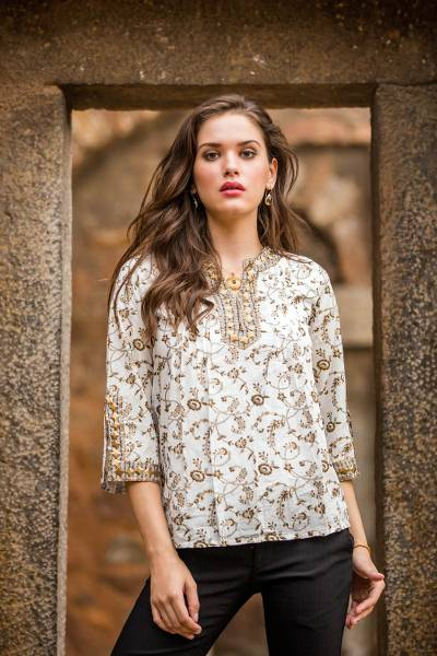Cotton tunic, 'Floral Garden' - White Cotton Tunic with Floral Block Print and Beading