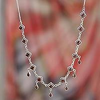 Garnet waterfall necklace, 'Queen of Diamonds' - Garnet Necklace Sterling Silver Jewelry from India