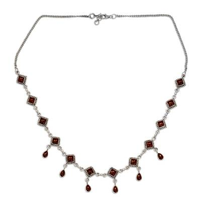 Garnet Necklace Sterling Silver Jewelry from India