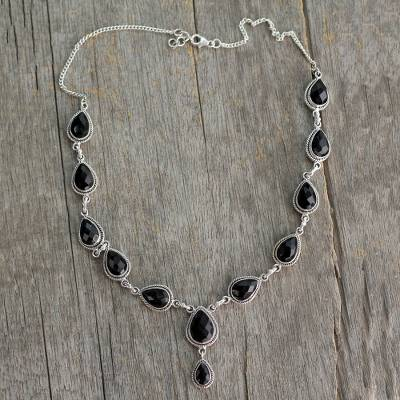 Onyx Y-necklace, 'Midnight Teardrop' - Indian Onyx and Sterling Silver Y Necklace