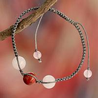Jasper and rose quartz Shambhala-style bracelet, 'Courageous Romance' - Jasper and Rose Quartz Shambhala-style Bracelet