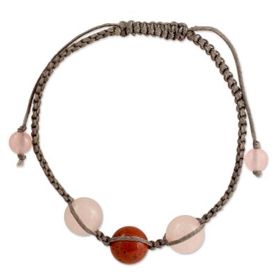 Jasper and Rose Quartz Shamballa Bracelet