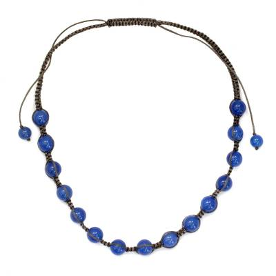 Cotton and Chalcedony Beaded Shamballa Necklace