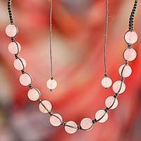 Rose quartz Shambhala-style necklace, 'Oneness'