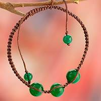Beaded Shambhala-style bracelet, 'Protection' - Handcrafted Cotton Shambhala-style Green Onyx Bracelet