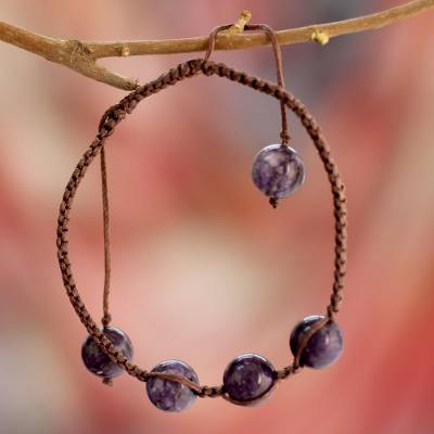 Charoite Shambhala-style bracelet, 'Transformative Tranquility' - Cotton Beaded Charoite Bracelet from India