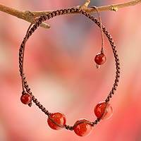 Cotton Shambhala-style bracelet, 'Courage' - Artisan Crafted Red Onyx Shambhala-style Bracelet from India