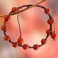 Jasper Shambhala-style bracelet, 'Blissful Courage' - Artisan Crafted Jasper Shambhala-style Bracelet