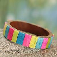 Wood bangle bracelet, 'Tropical Tones' - Colorful Bone Inlay Bracelet Handcrafted with Wood