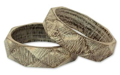Wood Bangle Bracelets Hand Carved in India (Pair)