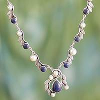 Cultured pearl and lapis lazuli pendant necklace, 'Tropical Fruit'