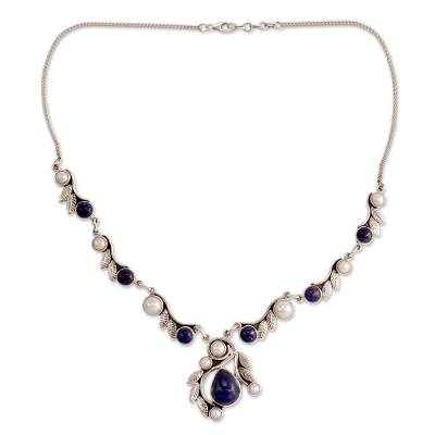 Pearl Lapis Lazuli and Sterling Silver Necklace from India
