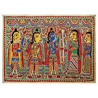 Madhubani painting, 'Rama and Sita Wed' - Madhubani painting