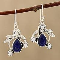 Cultured pearl and lapis lazuli dangle earrings, 'Tropical Fruit' - Pearl and Lapis Lazuli Earrings Sterling Silver Jewelry