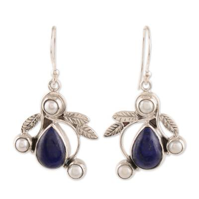 Pearl and Lapis Lazuli Earrings Sterling Silver Jewelry