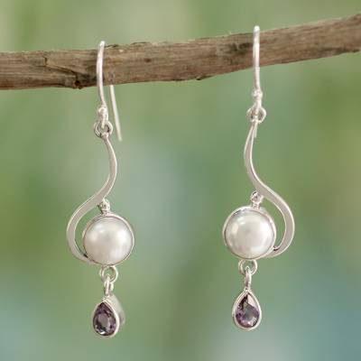 Cultured pearl and amethyst dangle earrings, 'Cloud Sonnet' - Handcrafted Sterling Silver Pearl and Earrings from India