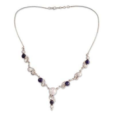 India Cultured Pearl and Lapis Lazuli Necklace in Silver