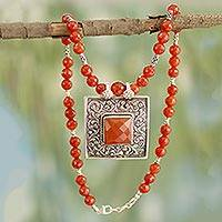 Featured review for Carnelian pendant necklace, Mughal Fire
