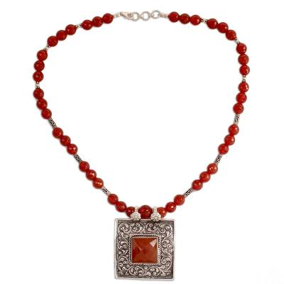Carnelian and Sterling Silver Necklace Indian Jewelry
