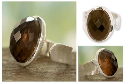 Handcrafted Indian Smokey Quartz Sterling Silver
