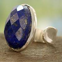 Lapis lazuli cocktail ring, 'Jaipur Opulence' - Artisan Crafted Sterling Silver and Lapis Lazuli Ring