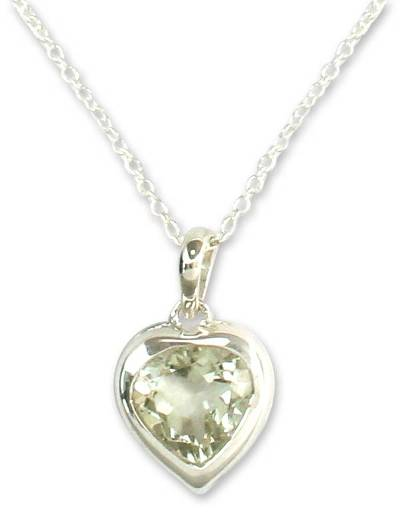 Handcrafted Heart Shaped Prasiolite Pendant Necklace
